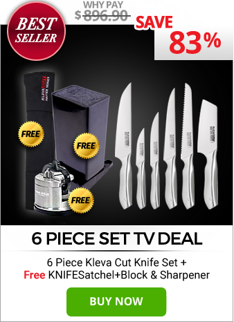 6 Piece Kleva Cut Knife Set PLUS FREE Knife Satchel, Block & Sharpener